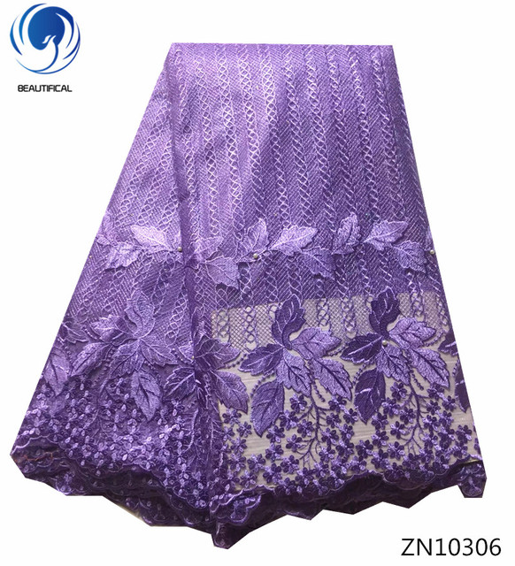 Beautifical Women Fabric Lace Diffe Types Of French Wedding Dress Purple 5yards Zn103