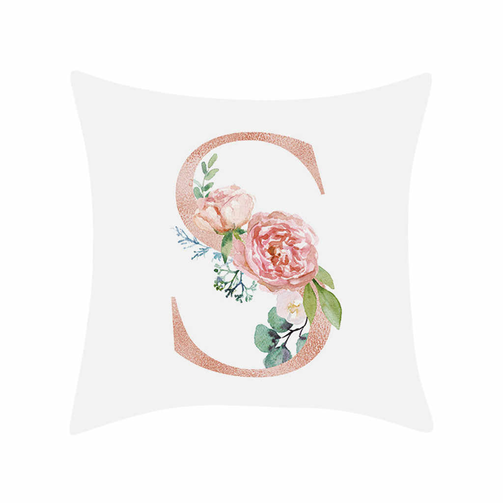 Hsu Bantal Dekoratif untuk Sofa Huruf Bantal Alfabet Bantal Cetak untuk Sofa Rumah Dekorasi Bunga Bantal Coussin Decoratif