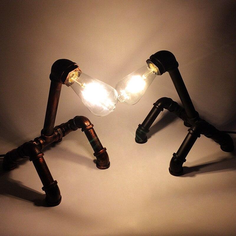Новый Дизайн Утюг водопровод украшения регистрации свет E27 личности Винтаж промышленного ветер теплые Стиль настольная лампа для изучения ...