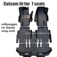 Подходит для volkswagen vw sharan 2009 2010 2011 2012 2013 2014 2015 2016 7 сиденья автомобиля коврик ковров 3d surround водонепроницаемый