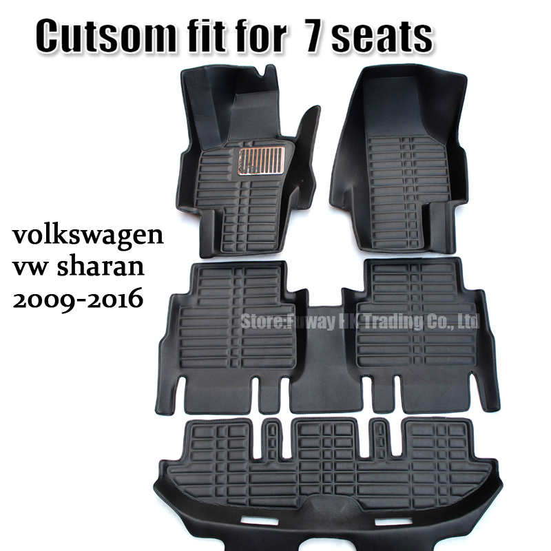 Ajustement pour volkswagen vw sharan 2009 2010 2011 2012 2013 2014 2015 2016 7 sièges voiture tapis de sol tapis tapis 3d surround imperméable