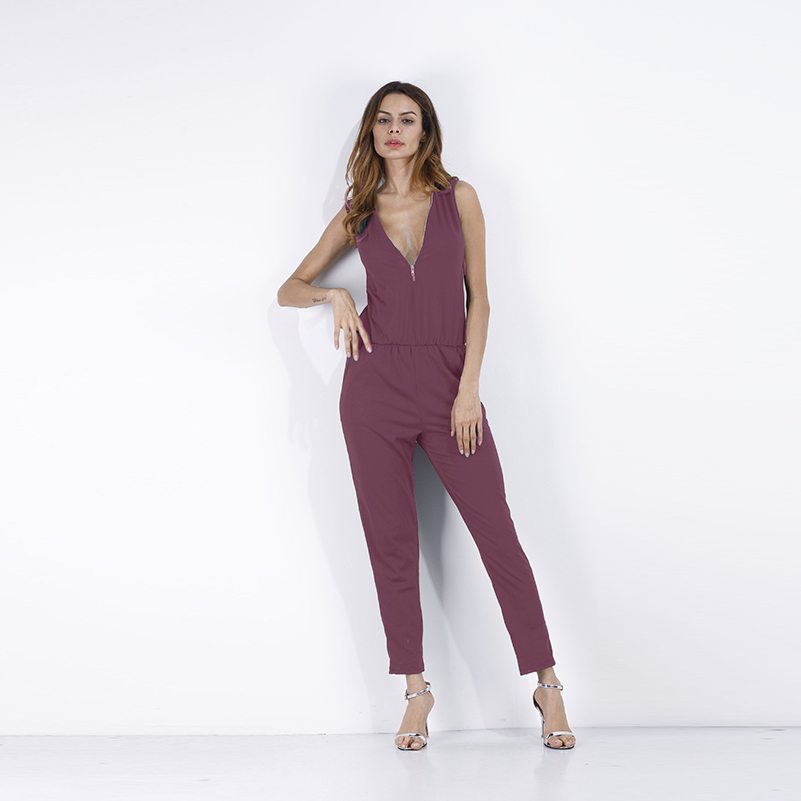 Long Black New V Neck Pants Ladies Summer Women 2019 Solid Rompers Fashion Sex New Sleeveless Sexy Style Gray Jumpsuit Female