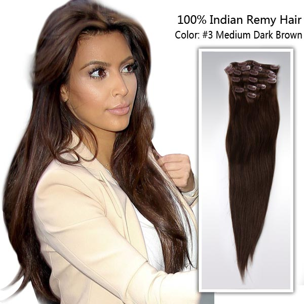 African American Light Golden Brown Color 3 Hairpieces Clip In