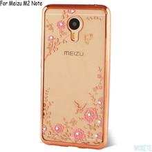 Real de cristal strass chapeamento dourado flor macio tpu caso capa para o meizu pro 6/pro 5/mx5/m3 nota/m2 nota/meizu metal/m3