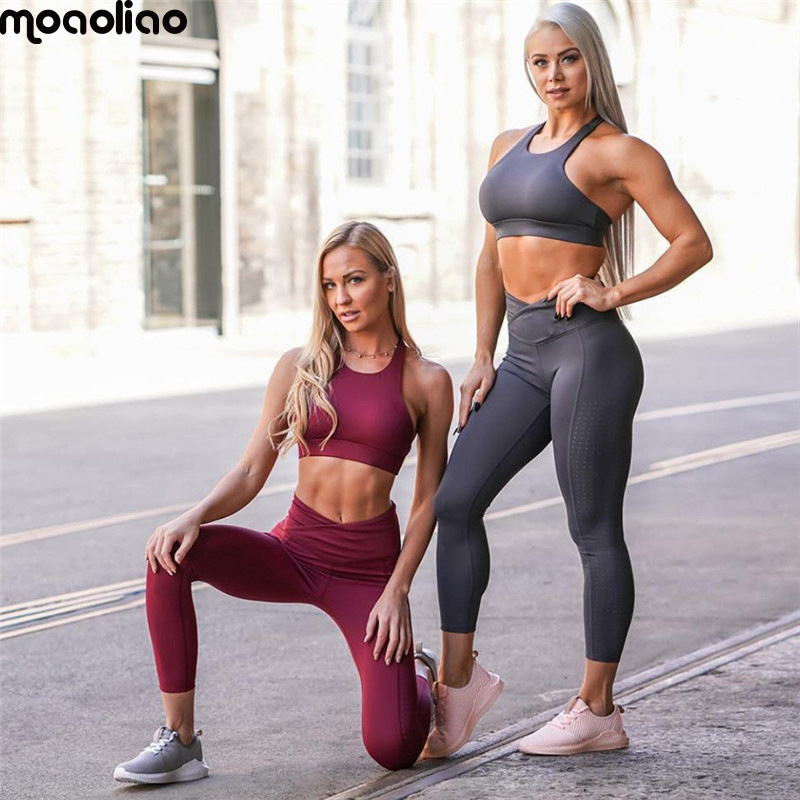 2018 Womens Tracksuit Tights Sportswear Fitness Yoga Suit Sport Set For Female Gym Clothing Workout Two Piece Jumpsuit Crop Top Sports & Entertainment