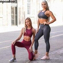Йога костюм Спортивный комплект 2018 Для женщин спортивный костюм колготки спортивной Фитнес женская спортивная одежда тренировки комбинезон из двух частей укороченный