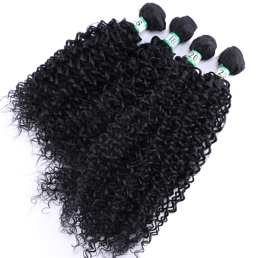 Natural black color kinky curly hair extension high temperature synthetic hair bundle for black women(China)