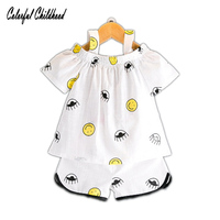 Girls Clothing Sets 2017 Summer New Girls Clothes Bow Cute Smile off shoulder T-shirt + Shorts Suit Crushed Flowers for 2-7 Kids