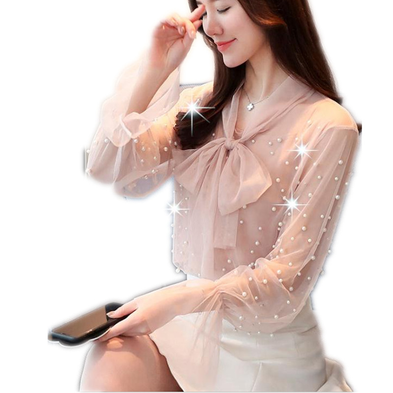 2019 Sweet Flare Sleeve Women Mesh Blouses Spring Summer Lace-Up Bow Shirts With Pearls Chiffon Transparent Sexy Blouses TopQ158