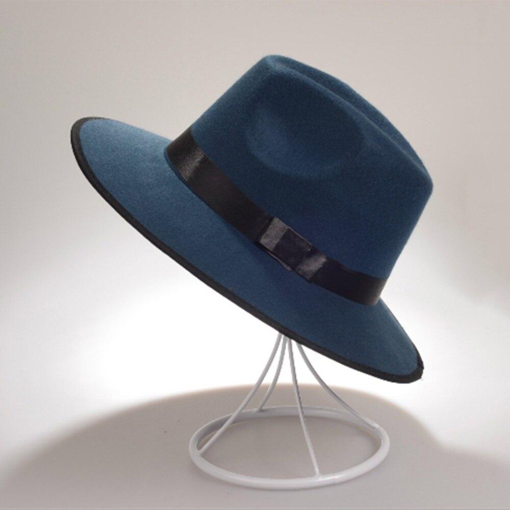 Women Cap Vintage Ladies Fedoras Floppy Hard Felt Hat Men Wide Brim Fedora  Hat Gangster Cap 0025 f235160be8ea