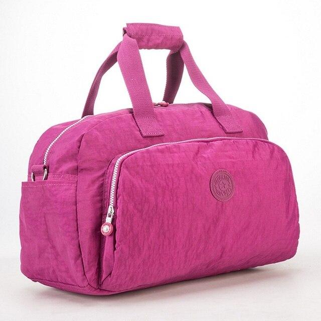 Men Waterproof Nylon Business Trip Short Travel Bags Women Organizer Duffel Tote  Bag Ladies Solid Weekend bf43478777dd2