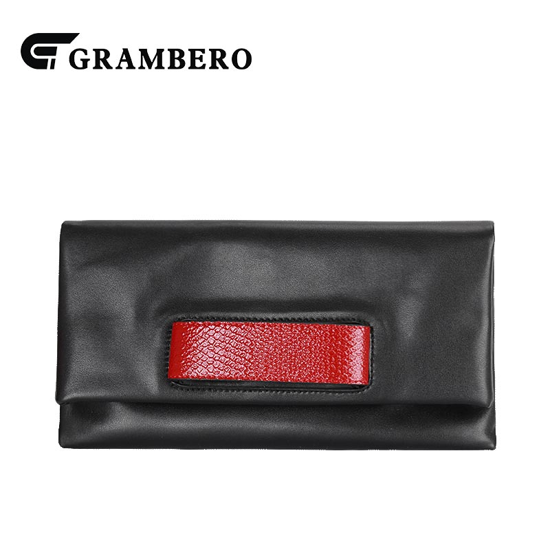 Fashion Women Fold Clutch Purse Solid Color Genuine Leather Cowhide Leather Magnetic Buckle Wallet Party Shoulder Crossbody Bags