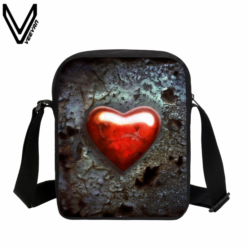 VEEVANV Big Red Heart Printing Messenger Bags School Bags For Kids Casual Bookbags Travel Zipper Bags Children Birthday Gifts