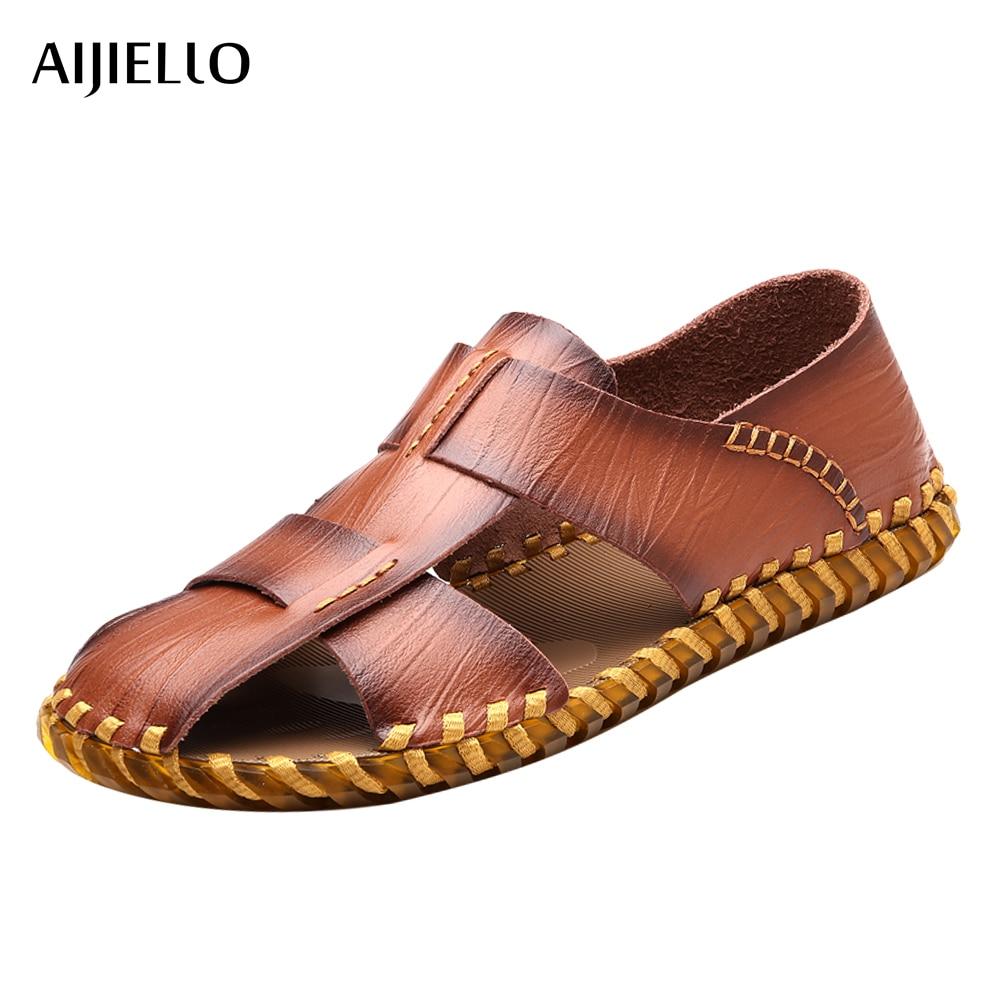 Mens Sport Shoes Genuine Leather Summer Sandals Men Outdoor Slip on Sandals for Men Rubber Bottom Beach Sandals