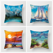 Fuwatacchi Sunflower Sailing Landscape Pillow Cover Painting Cushion for Home Car Chair Decor Pillowcases 2019