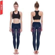 Jis mujeres yoga pantalones azul oscuro impresión digital mujeres brillantes pantalones de fitness deportes running ropa deportiva mujer