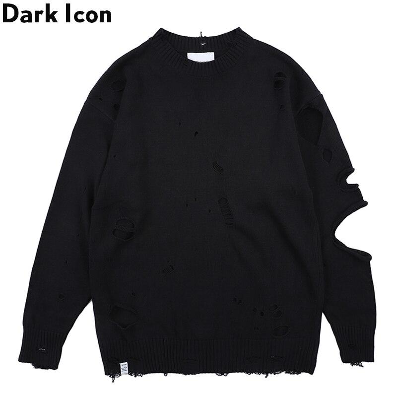 Dark Icon Ripped Street Men's Sweater Round Neck Destroyed Sweater for Men Streetwear