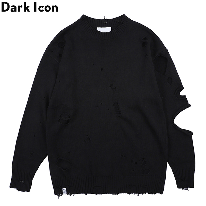 Dark Icon Ripped Street Men's Sweater Round Neck Destroyed Sweater For Men Streetwear Clothing