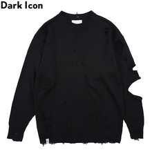 Dark Icon Ripped Street Mens Sweater Round Neck Destroyed for Men Streetwear Clothing