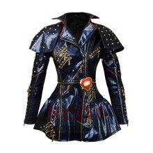 Hot~ In Stock Descendants 2 Evie Cosplay Halloween carnival Costume Women punk Top Jacket Coat with rivet zippermp003806