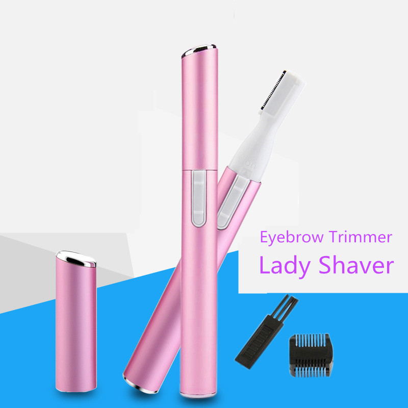 Electric Hair Eyebrow Trimmer Women Remover Mini Portable Lady Shaver With Eyebrow Comb Brush Face Eyebrow Hair Body Blade Razor women lady body legs shaver automatic eyebrow trimmer mini hair remover stainless steel blade shaver body face trimmer