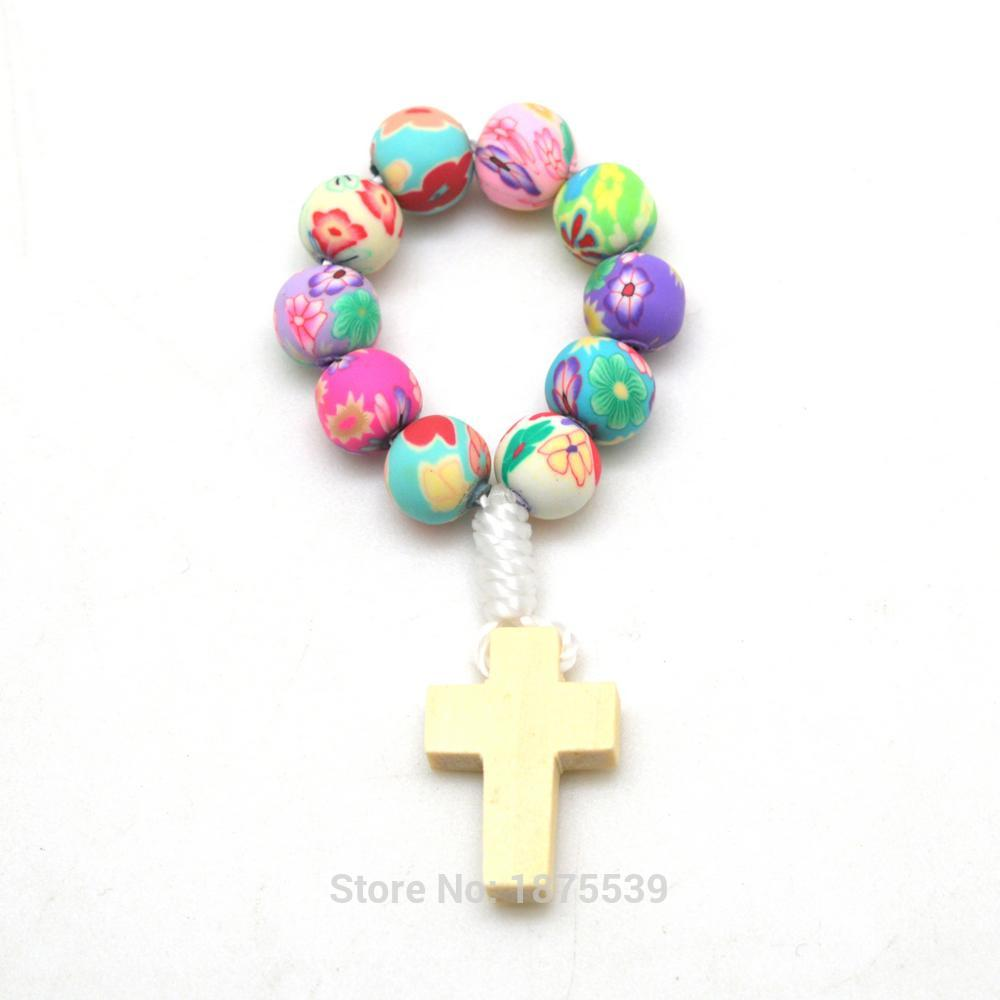 Colorful Polymer Bead Small Finger Rosary Bracelet