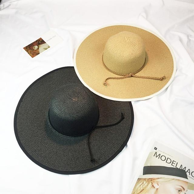 4fc15a0c806 HT995 2017 New Summer Sun Hats for Women Big Large Brim Beach Hats Ladies  Stylish Floppy Hats Solid Anti-UV Straw Hat Cap Female