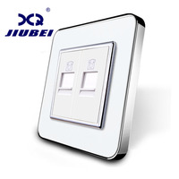 Jiubei Manufacture White Crystal Glass Panel Without Plug Adapter 2 Gangs Telephone Socket Outlet SV C701TT