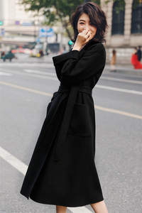 Image 5 - IRINAW901 new arrival 2020 klasyczny styl szata długi, z paskiem ręcznie podwójna obliczu płaszcz z wełny kaszmirowej kobiet