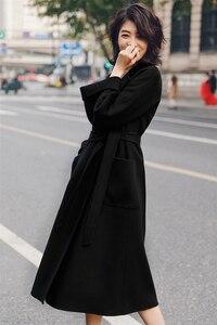 Image 5 - Irinaw901 nova chegada 2020 estilo clássico robe com cinto longo artesanal dupla face lã cashmere casaco feminino