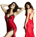 Cola bifurcada Mujeres Sexy Sin Respaldo Condole Ahueca Hacia Fuera la Ropa de Noche Pijamas 2016 Nuevo Vestido De Festa