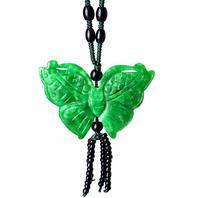 Birmânia naturais Pingente de Jade Esmeralda Borboleta Colar de Corrente Camisola