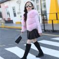 Girls Winter Fox Fur Jacket Child Parkas Princess Faux Fur Coat With Removeble Sleeves Kid's Leather Jacket Patchwored with fur