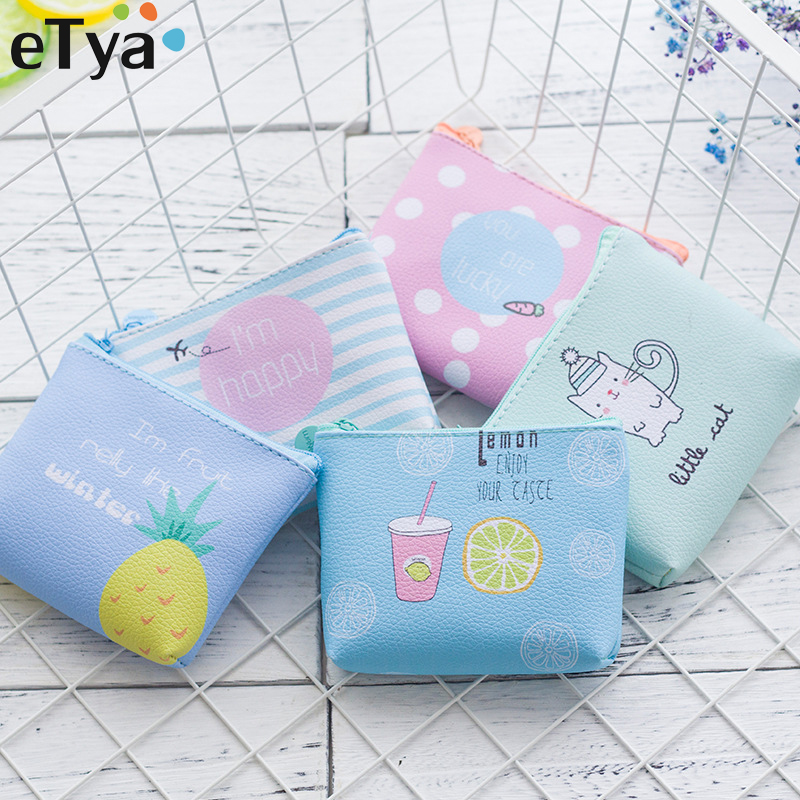 ETya High Quality Brand Women Wallet Cartoon Animal Fruit Kids Small Zipper Pouch PU Leather Female Children's Coin Purse Wallet
