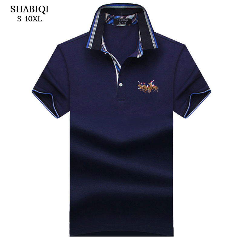 SHABIQI New Brand Men shirt Men   Polo   Shirt Men Short Sleeve Cotton Shirt Embroidery Three Horses   Polo   Shirt Plus Size S-10XL