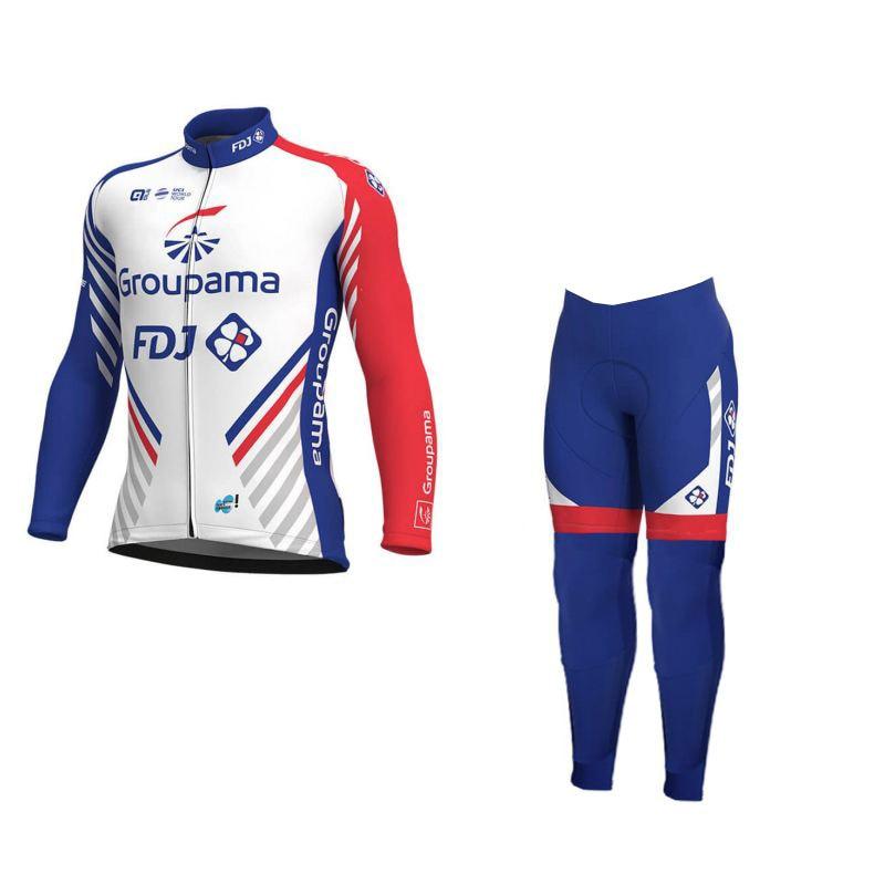 winter fleece 2018 pro team groupama fdj cycling jersey kits warmer Ropa Ciclismo quick-dry MTB bike clothing GEL pad sets плед сruise welcom