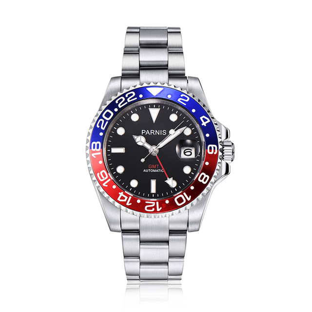 40mm PARNIS Black Sapphire Crystal Date GMT Mechanical Automatic Mens watch  Sapphire mirror  Replaceable tape