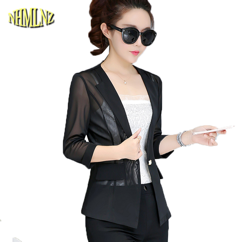 2018 Autumn Thin Casual Blazers Women Single Button Solid color Short Suit Breathable Gauze Slim Simple Blazers Female DAN277