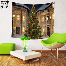 PEIYUAN Tapestry New Design Warm Hut Cartoon font b Christmas b font Tree and Deer Wall