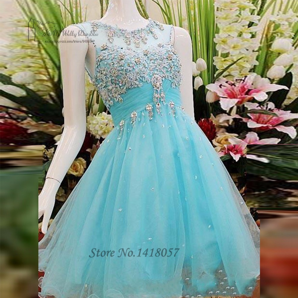 Blue Short Prom Dresses Lace Crystals Halloween Modest Homecoming ...