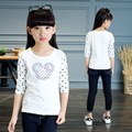 2017 spring and autumn fashion classic children's T-shirt girls 4-13-year-old cartoon mouse head Slim bottoming shirt