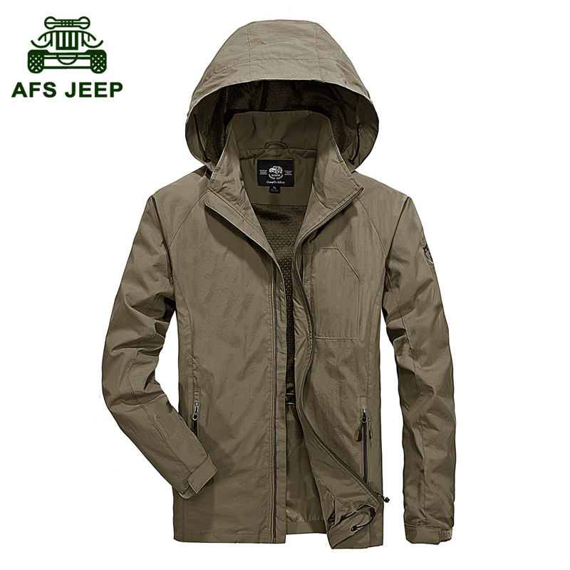Quick Dry Windbreaker Thin Men Plus Size 5XL Hooded Jacket New 2017 Spring and Autumn Casual Coats Brand AFS JEEP Clothes Loose plus size 42 men denim jeans new 2017 autumn brand afs jeep loose free type breathable male casual clothing pantacourt homme