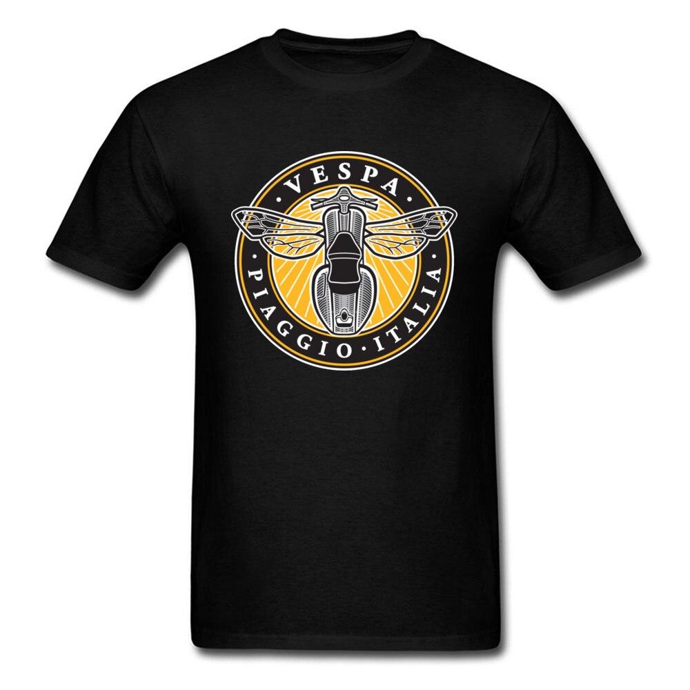 Camisa Moto Vespa T Shirt Homens Negros Roupas Verão Dos Desenhos Animados Camiseta de Algodão Tops T-shirt Abelha Do Vintage Motociclista Streetwear