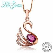 L& zuan Роуз Золотой лебедь Серебряный кулон ожерелья для женщин, созданные подвески с рубинами S925 серебро красный драгоценный камень ювелирные изделия на подарок
