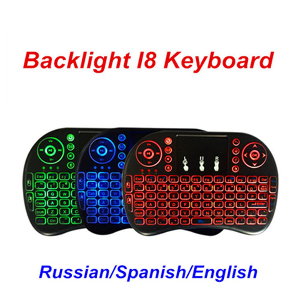i8 backlit wireless keyboard android smart tv box accessories russian keyboard spanish keyboard. Black Bedroom Furniture Sets. Home Design Ideas