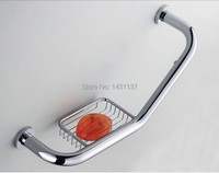 Free Shipping High Quality Brass Material Chrome Plating Grab Bar With Basket