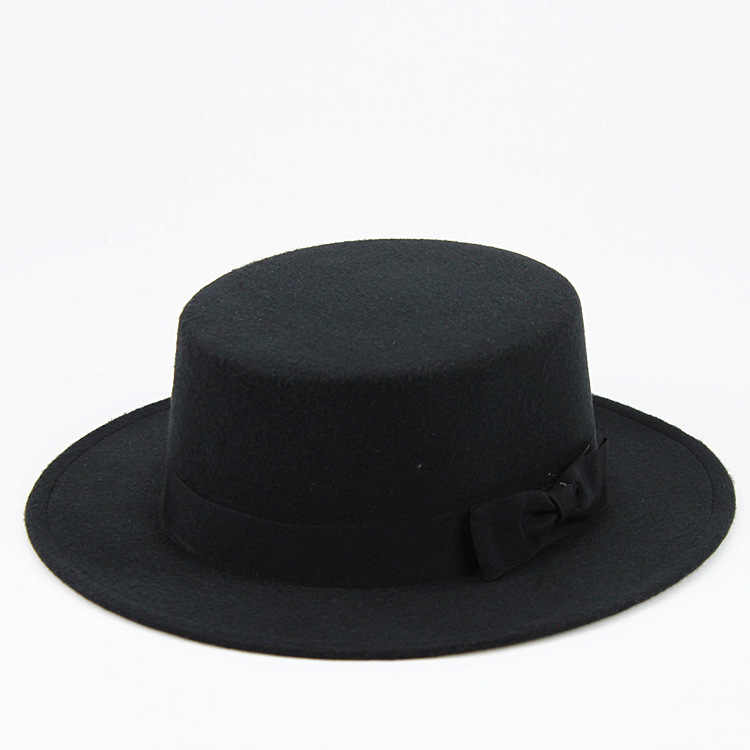 c389736201b LUCKYLIANJI Wool Felt Pork Pie Boater Flat Top Hat For Women s Men s Wide  Brim Fedora Gambler