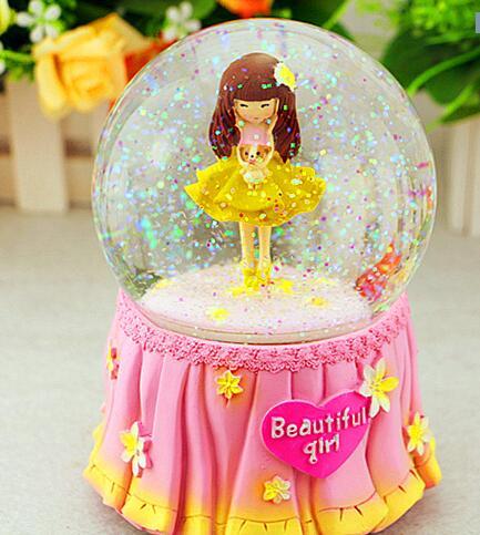 Fleur de neige boule de cristal boîte à musique boîte thday idées cadeaux pour enfants