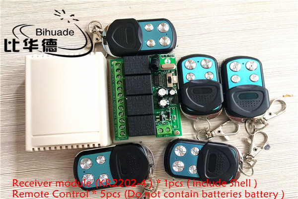 433Mhz Universal Wireless Remote Control Switch DC12V 4CH relay Receiver Module and 5pcs 4 channel RF Remote 433 Mhz Transmitter qiachip 4pcs rf transmitter 433 mhz remote controls 433mhz wireless remote control switch dc 12v 1ch rf relay receiver module