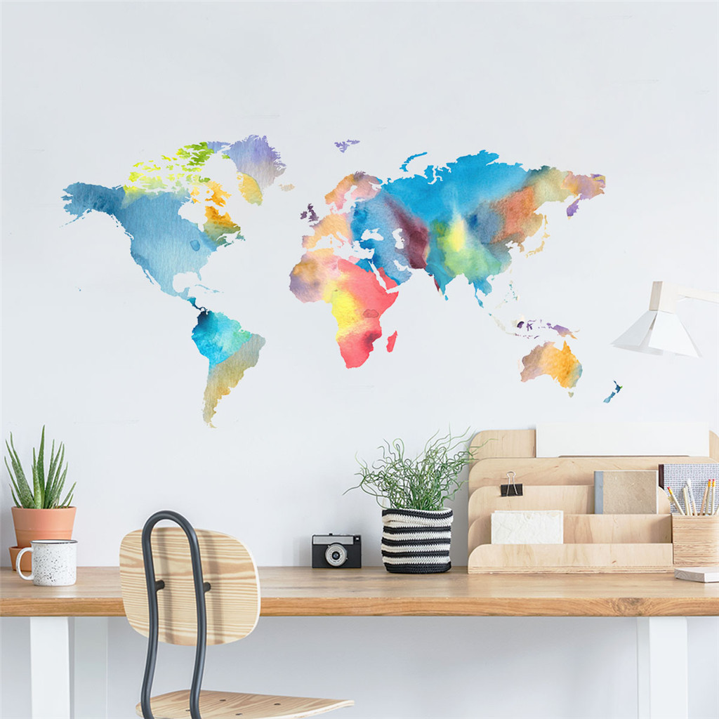 Wall Sticker Diy Wallpaper Colorful World Map Home Decor Wall Decals Baby Room Bedroom Window Decorative Nursery Poster Buy At The Price Of 1 39 In Aliexpress Com Imall Com